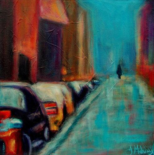scène de rue avec marcheur par l'artiste Johanne Maheux