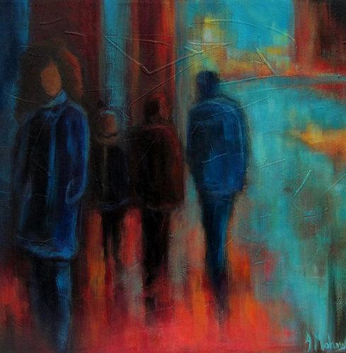 Marcheurs dans les rues par l'artiste peintre Johanne Maheux