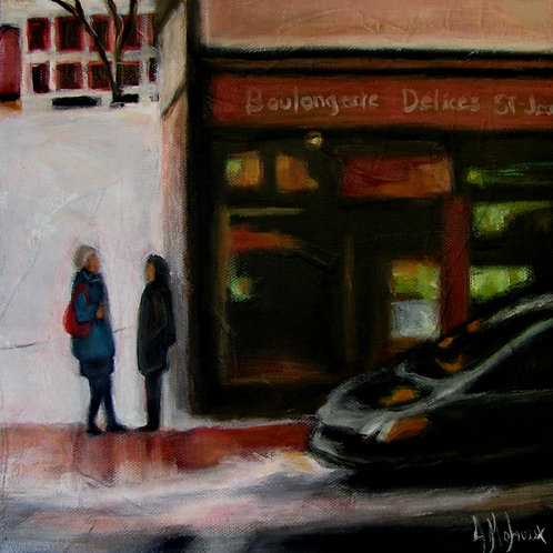 Citadins dans la rue par l'artiste peintre Johanne Maheux