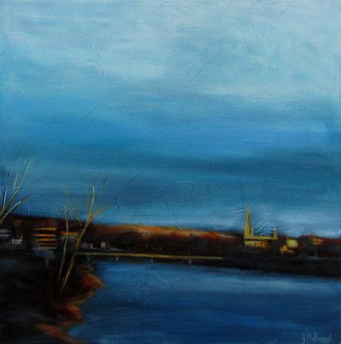 Église et rivière au coucher du soleil  par l'artiste peintre Johanne Maheux