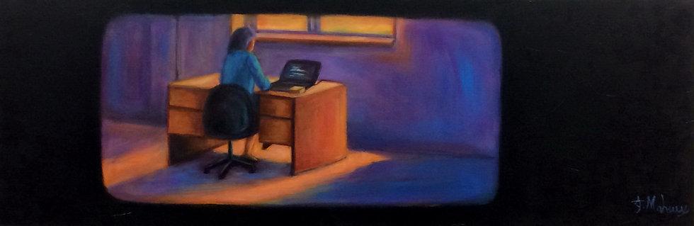 femme à l'ordinateur par l'artiste peintre Johanne Maheux