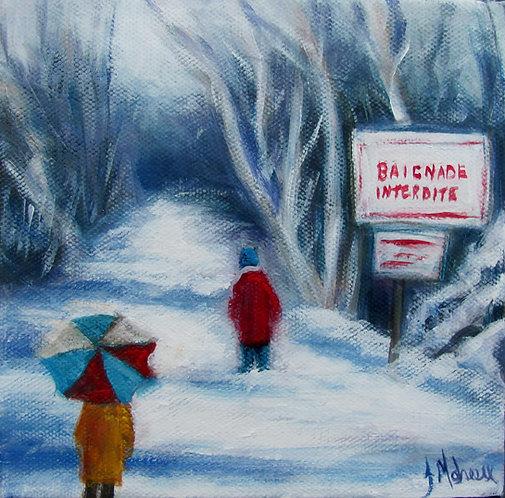 Parc Veilleux sous la neige par l'artiste peintre Johanne Maheux