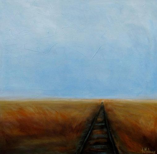 voie ferrée démantelée par l'artiste peintre Johanne Maheux