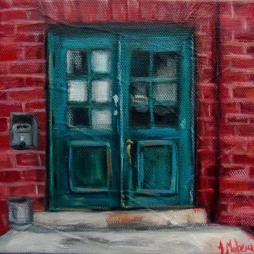 Porte d'une usine par l'artiste peintre Johanne Maheux