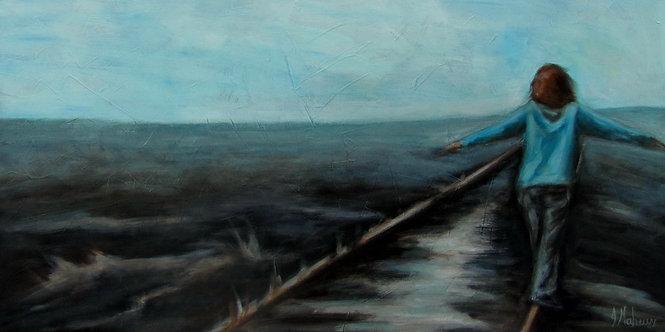Équilibre sur la voie ferrée par l'artiste peintre Johanne Maheux