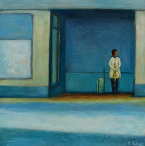 Femme qui attend par l'artiste peintre Johanne Maheux