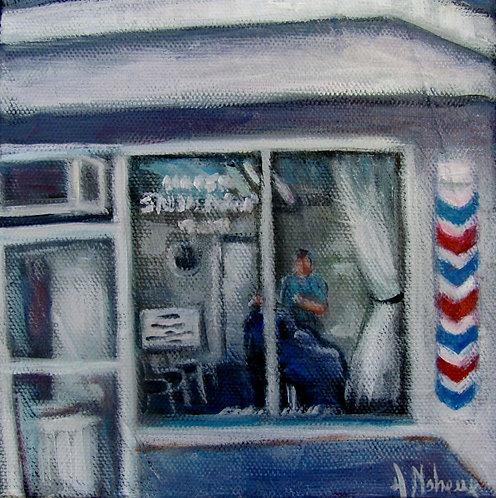 salon de barbier à Saint-Georges par l'artiste peintre Johanne Maheux