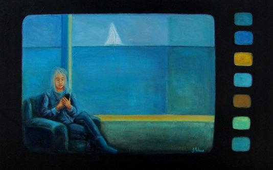 femme avec cellulaire qui voyage par l'artiste peintre Johanne Maheux