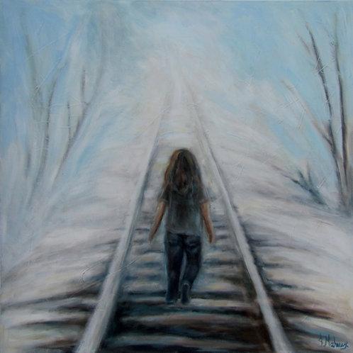 Enfant sur la voie ferrée de l'artiste Johanne Maheux
