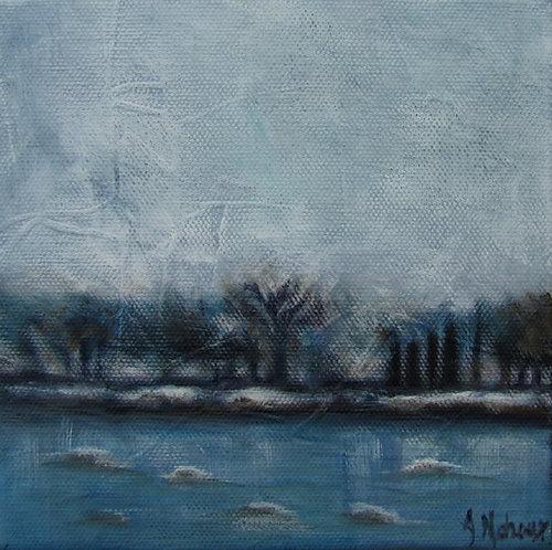 glaces sur la rivière Chaudière par l'artiste peintre Johanne Maheux