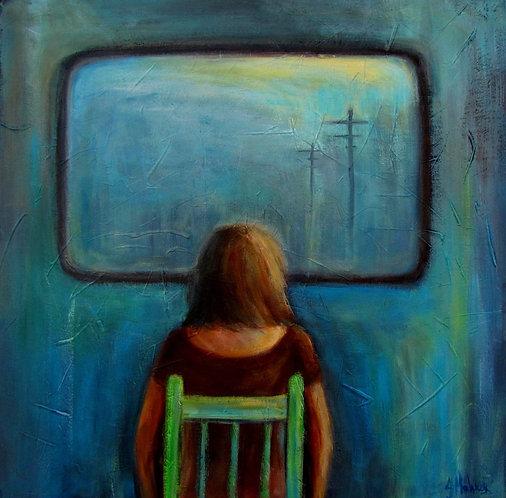 femme devant un écranc par l'artiste peintre Johanne Maheux