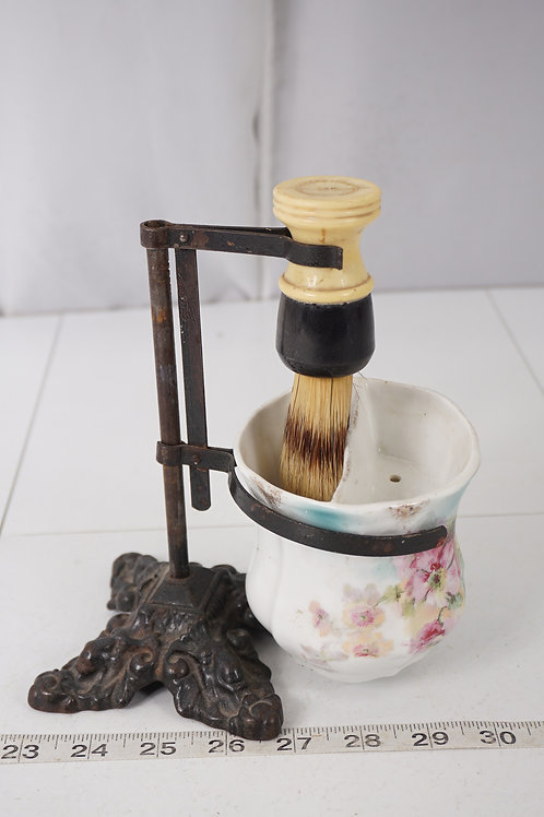Victorian Shaving Mug With Brush And Iron Stand