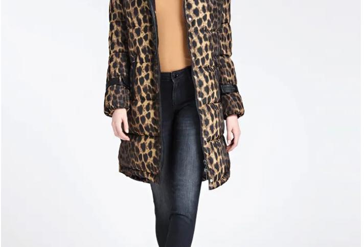 Doudoune longue Guess Leopard