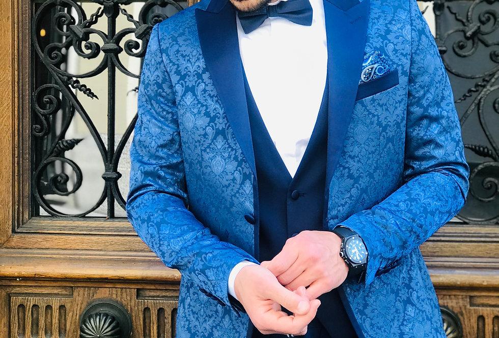 Costume 3 pièces bleu roi avec motifs