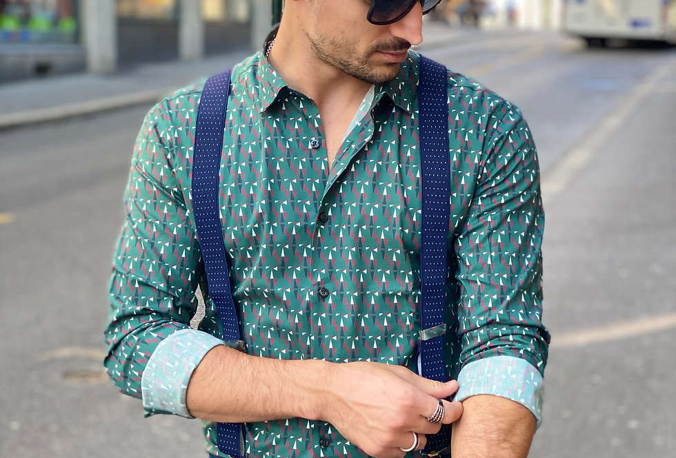 Chemise Takeshy vert motifs