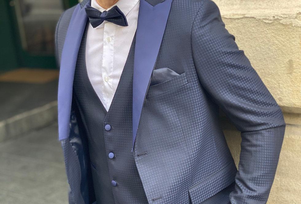 Costume smoking slim fit bleu à motifs