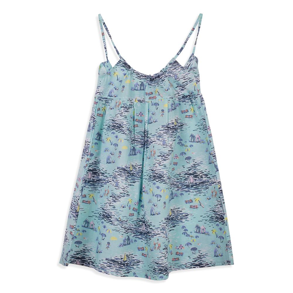צילום בגדים שמלה כחולה עם הדפס