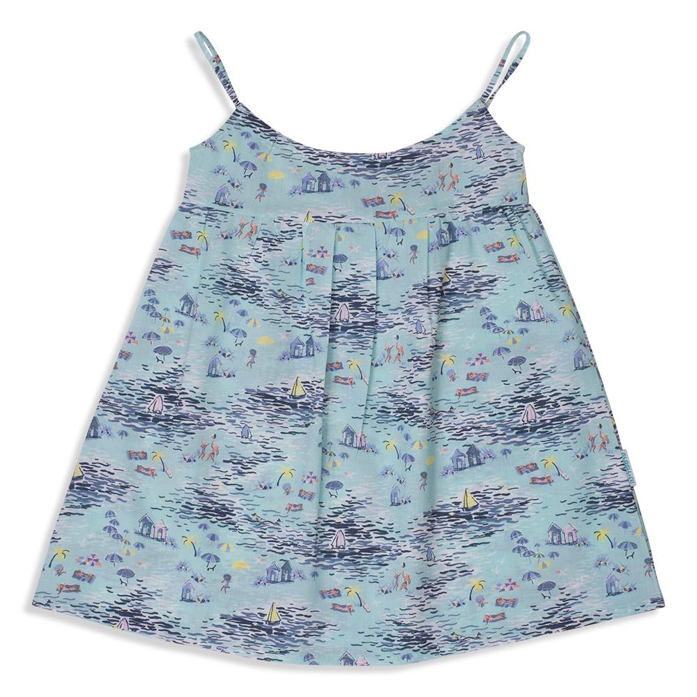 צילום בגדים שמלה תכלת מודפסת