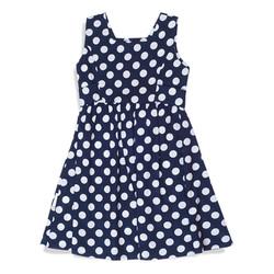 צילום בגדים שמלה כחולה עם נקודות