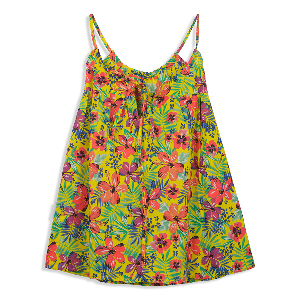 צילום בגדים שמלה פרחונית צהובה
