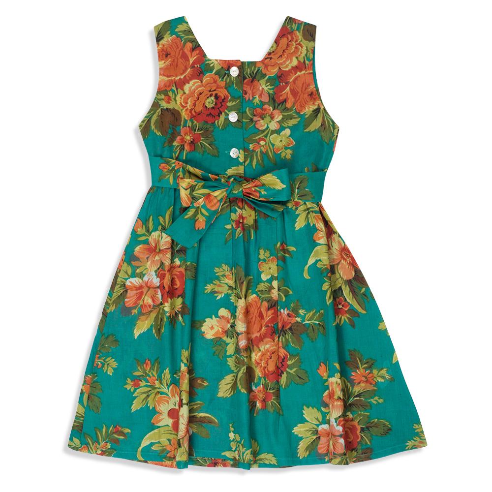 צילום בגדים שמלת פרחים טורקיז מאחור