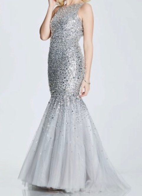 SilverSize 8  Embellished Fishtail Prom dress RRP £595