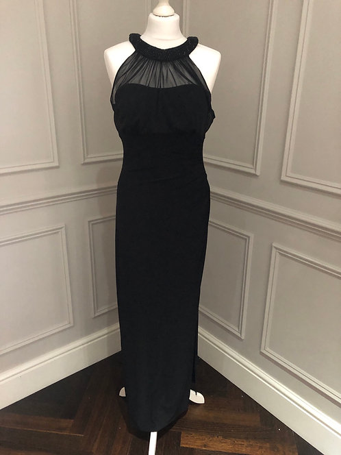 Size 10 Black maxi evening dress with mesh overlay