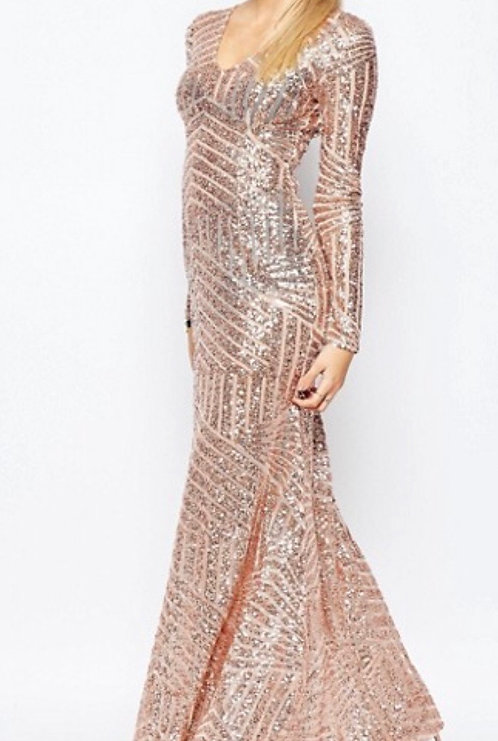 Size 8 Rose Gold Sequin Sheer Maxi dress, long sleeves