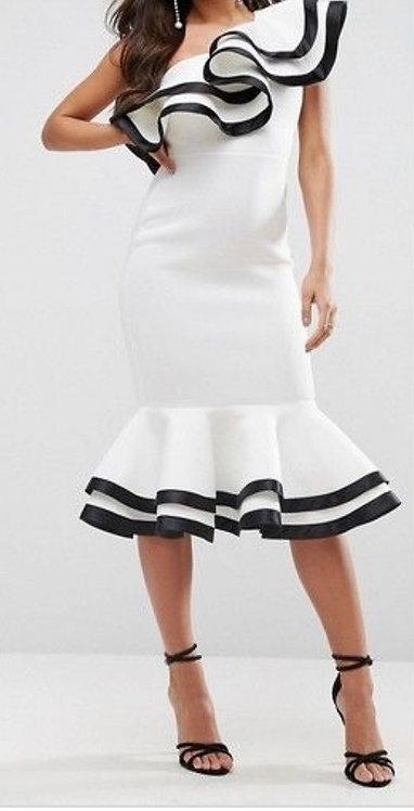 Size 10 White one shoulder Frill Midi dress black trim