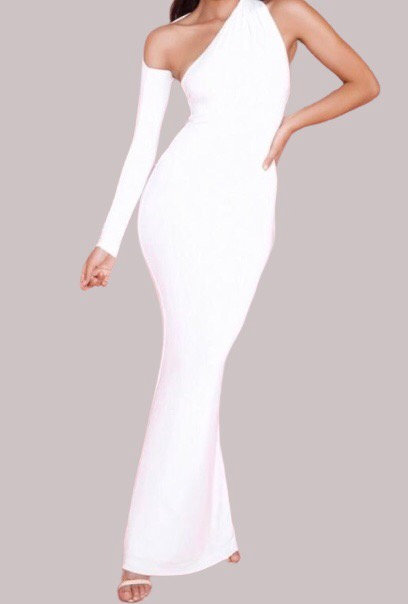 Size 8 White one shoulder maxi dress