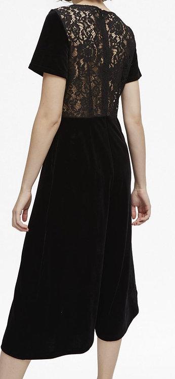 Size 10 Black velvet lace back jumpsuit