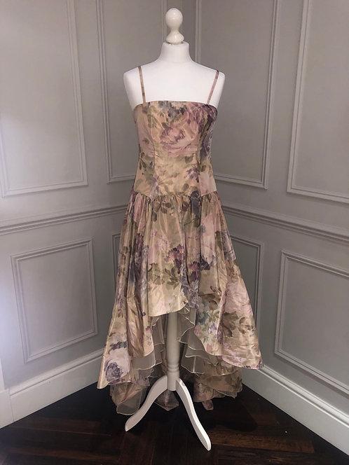 Size 8-10 Floral asymmetric Madonna style alternative prom