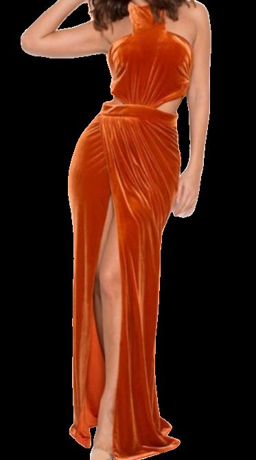 Size 8 Orange Velvet Goddess Halter maxi