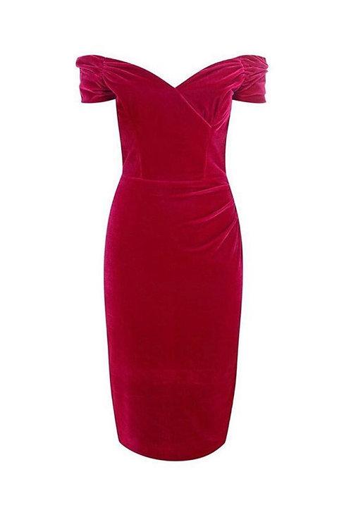 Size 10 Magenta Pink Velvet Bardot pencil dress