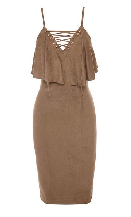 Size 8 Suede effect Midi dress