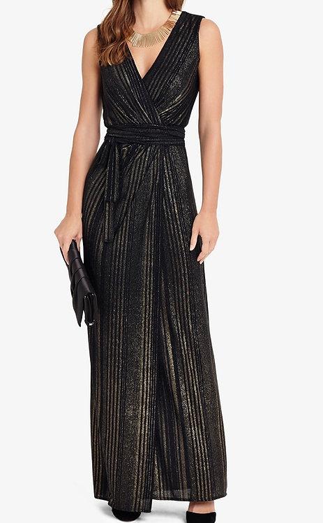Size 10-12 Black Knitted Full Length Wrap dress
