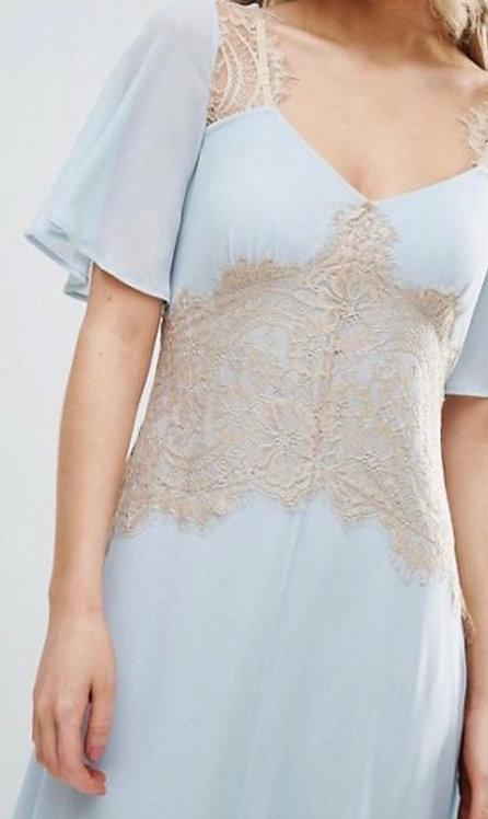 Size 10 Blue Chiffon & beige lace Tea dress
