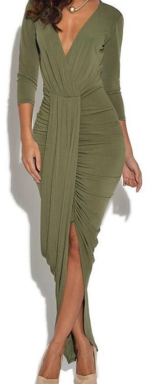 Size 10-12 Khaki slinky midi drape dress
