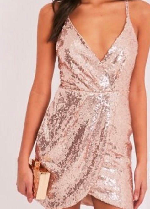 Size 10 Rose gold sequin dress with cut out back