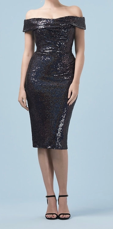 Size 10 Navy Sequin Bardot Pencil Dress