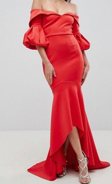 Size 10 Red Bardot Style Maxi dress