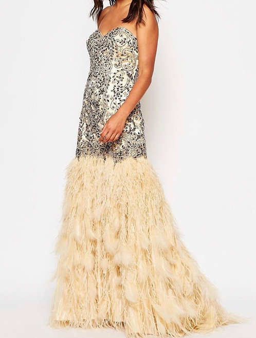 Size 8 Sequin prom dress feathered skirt RRP £495