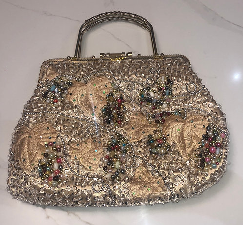 Vintage 1940s gold framed beaded bag