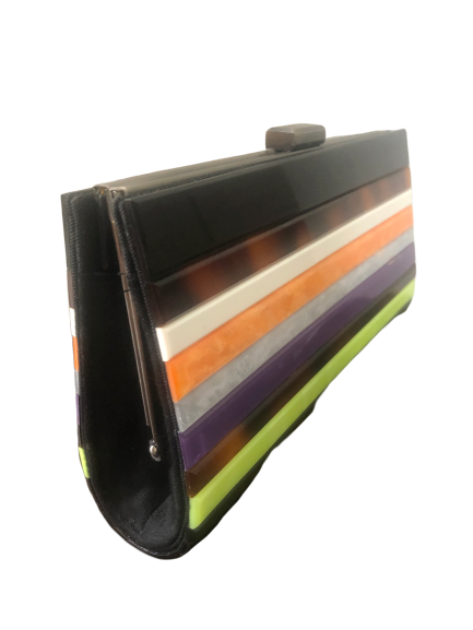 Striped clutch bag
