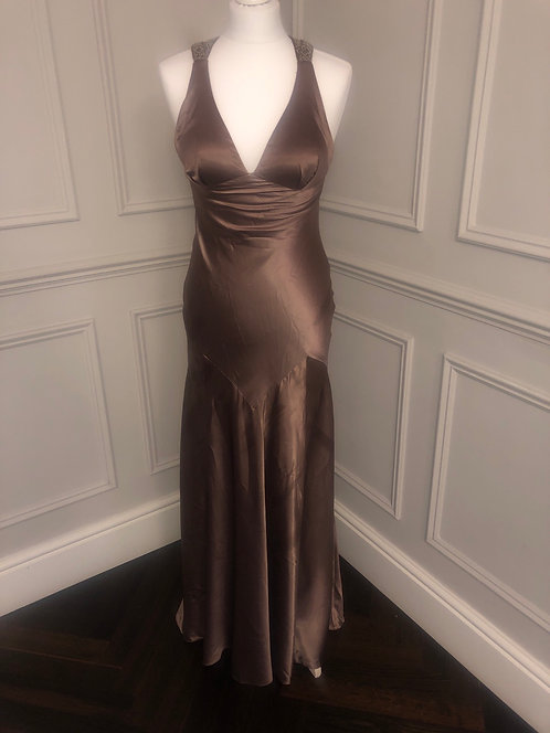 Size 8 silk maxi prom dress with embellished back