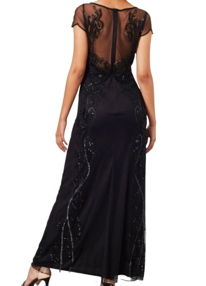 Size 10 Black Lace & beaded Maxi Gown