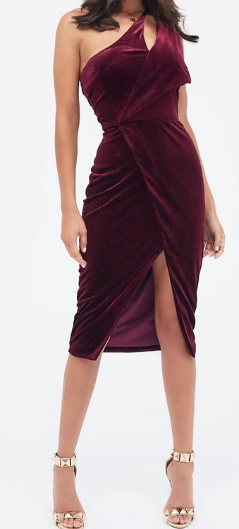 Size 8 Dark Red Velvet one shoulder dress
