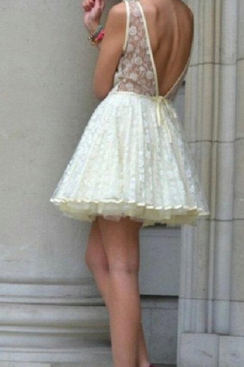 Size 8 Cream Lace Skater Dress