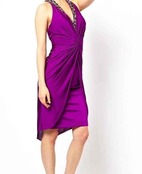 Size 8 Purple jewelled twist front  dress RRP £250