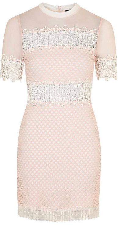 Size 10 pink & white mesh bodycon